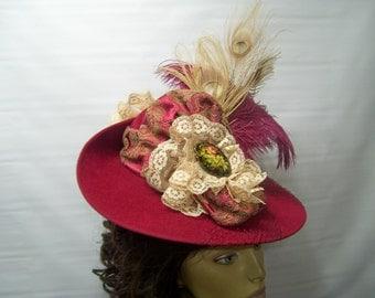 Victorian Hat, Downton Abbey Hat, Riding Hat, Civil War Hat, 1800s Style Hat, BuRgundY Hat, Reenactment hat, SASS HAt