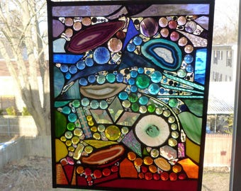 Harmony revisted Chakra Stained Glass Abstract  Explosion of Colors, Agates, Jewels, bevels, crystals