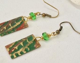 Green Fern Earrings, Leaf Earrings, Fern Jewelry, Leaf Jewelry, Nature Inspired Jewelry, Patina Earrings, Green Earrings, Outdoors Lover