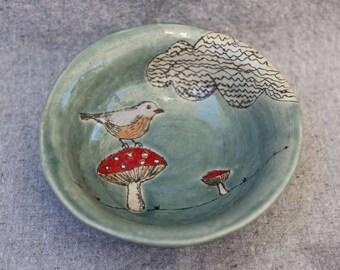 Stoneware Pasta Bowl with Bird Toadstool Mushroom and Cloud Design and Aqua Glaze