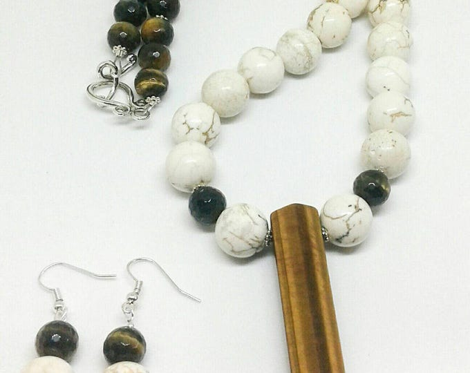 Lona Item # 201718, Handmade Jewelry, Handcrafted Jewelry is designed with white turquoise and tigers eye