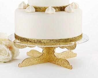 Gold Glitter Acrylic Cake Stand