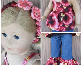 Handmade for the American Girl Doll Hippy Pants Summer Top Headband in Pansy