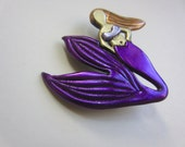 mermaid brooch with purple shimmering tail pin