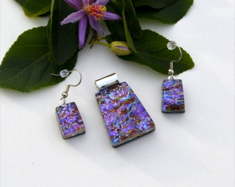 Fused dichroic glass pendant and earring set, three layers, pink, purple, blue