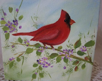 Cardinal Hand Painted Canvas 6 by 6 Art Original Painting Wall Art Decor