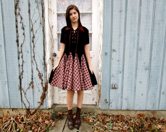 S-M Upcycled Vintage Lace Up Velvety Star Swing Dress// Altered Clothing// Reconstructed// Deep Burgundy// emmevielle