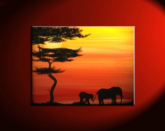 Elephant Painting Sunset Silhouette Lead Me And I Will Follow Gilmore Girls Friendship Motherhood Daughter Custom