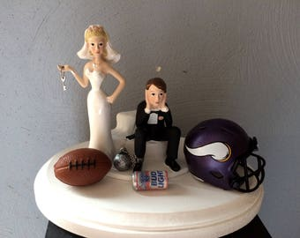 Minnesota Vikings Wedding Cake Topper Bridal  Funny Football team Football Themed with matching garter Hair color changed for free