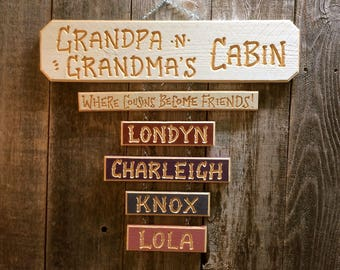GRANDPA GRANDMA SIGN Carved Wood Personalized Grandkids Cabin 42 dollars  for base sign  (Grandkid names 6 dollars each)