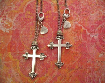 Two Cross Rear View Mirror Car Charms for Sisters Gift