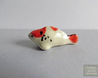 Tiny Red Japanese Koi Lucky Fish Fish Little Small Animal Miniatures Ceramic Animal Figurine Statue Mini Garden Decor