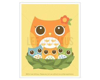 96A Owl Nursery Art - Baby Owls Wall Art - Owl Print - Baby Girl Nursery Decor - Art for Children - Colorful Owl Art Print - Owl Baby Gift