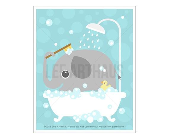 37A Bathroom Print - Elephant in Bathtub with Rubber Duck Wall Art - Bathroom Wall Art - Bath Print - Elephant Art - Elephant Nursery Print
