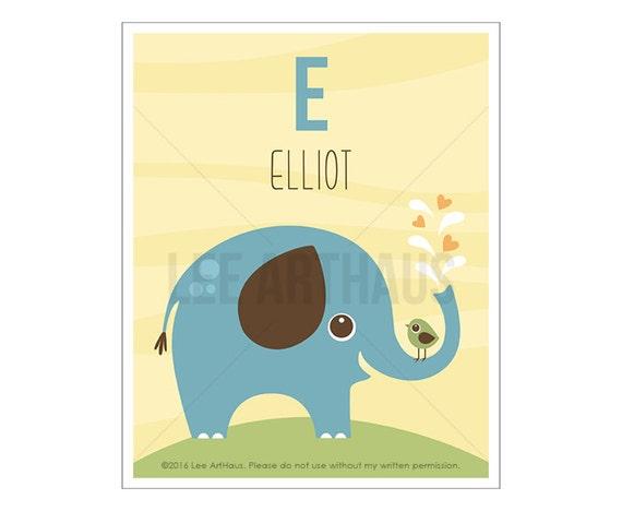 131P Elephant Print - Personalized Letter E Blue Elephant Wall Art - Custom Name Baby Boy Wall Art - Elephant Nursery Decor - Letter Art
