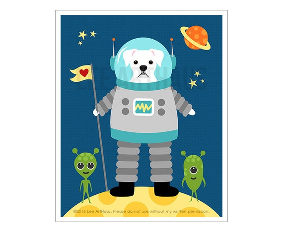 309D Boxer Dog Print - White Boxer Dog in Space Wall Art - Astronaut Decor - Space Art - White Boxer Dog Print - Dog Theme Nursery Art