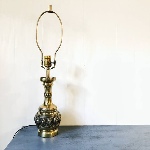 vintage brass table lamp - metal lighting - Mid Century Regency - gold black