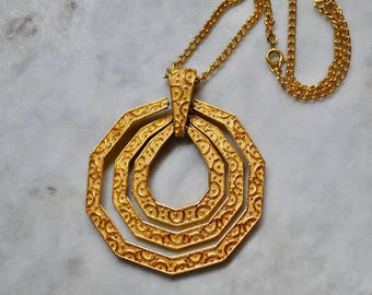 Trifari Gold Dangly Pendant w/ Chain