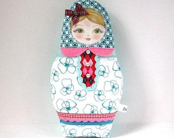 Babushka Doll, Matryoshka Doll, Modern Folk Doll, Cute Cloth Doll, Babushka Softie, Russian Doll, Collectable Doll
