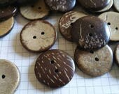 """Wood Buttons - Sewing Button - Coconut Wooden Two Holes Buttons - 3/4"""" Wide"""