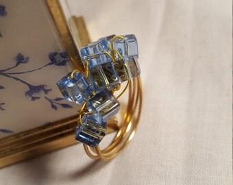 Love the Blue---Fun Fantasy gold tone ring.