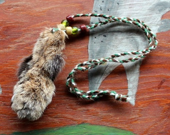 Real bobcat paw with claws fur necklace with braided cord and glass beads - simple nature jewelry for costumes, holidays, more