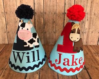 Cow Birthday Hat, OR Horse Birthday Hat, Barnyard Hat, Barnyard Cake Smash