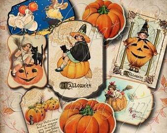 SALE HALLOWEEN LABELS No. 2 Collage Digital Images -printable download file- Digital Collage Sheet Vintage Paper Scrapbook