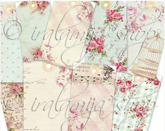 SALE DREAM TAGS collage Digital Images -printable download file- Digital Collage Sheet Vintage Paper Scrapbook Jewelry Holders