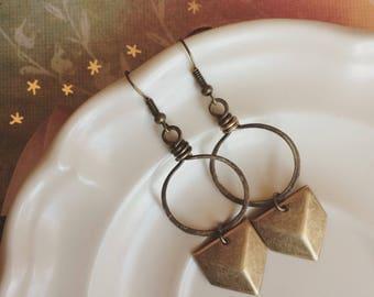 CHEVRON dangle antiqued brass handforged loop long earrings