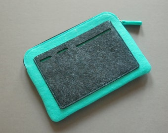 Felt Zipper Bag, Tech Organizer Pouch, teal blue/grey.