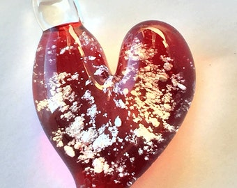Memorial Cremation Pendant, Red Heart, Custom Made to Honor Your Pet