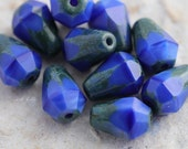 ROYAL DROPETTES .. 10 Picasso Czech Glass Drop Beads 8x6mm (5636-10)