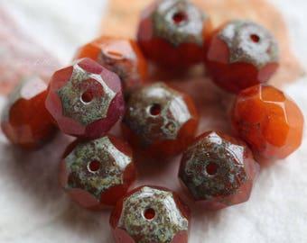 ORANGE RASPBERRY SHERBET .. New 10 Premium Picasso Czech Glass Rondelle Beads 6x9mm (5791-10)