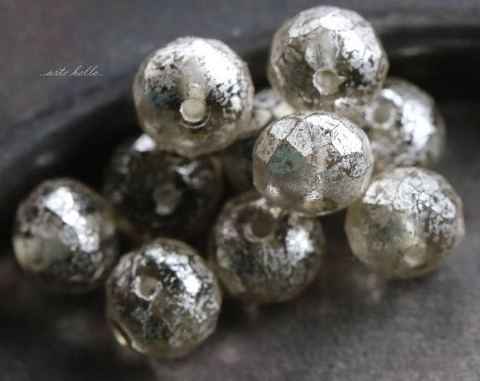 SILVERED MERCURY No. 2 .. 10 Picasso Czech Rondelle Glass Beads 5x7mm (5740-10)