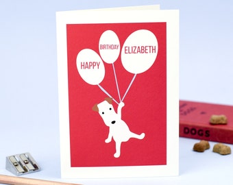 Happy Birthday Personalised Card - Personalized Birthday Card - Dog Birthday Card - Birthday Name Card - Terrier Card - Dog Card