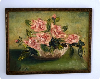"Oil Painting Roses in Bowl Primitive Impressionist Style on Canvas in Vintage Frame 14"" x 10 1/2"""