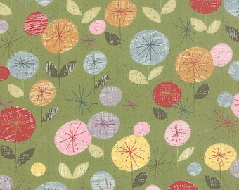 "End of Bolt - 2 yards + 14"" left ** MODA Mon Ami Fleur Vert 30410 15, Basic Grey"