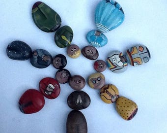 LITTLE PEOPLE PEBBLES hand painted rock people set of 7. Interchangeable heads, bodies and bottoms