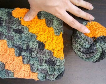 Camouflage Green Hunter Orange Crochet Tawashi Bathing Facial Exfoliating Cloth 2 pk scrubby eco-friendly biodegradable compostable cotton