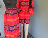 1970s Jumpsuit, 2 pc Jumpsuit or Romper w/Skirt, Summer Fashion, Novelty Print, Drawstring Waist