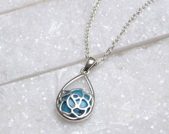Sterling Silver Turquoise Rose Necklace