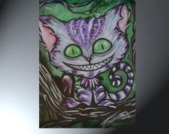 Cheshire Cat Art Print of Original Painting 28 x 20 or 19 x 13 Photographic Print