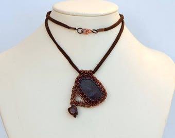 Mineral pendant in brown and copper Strange pietersite and copper pendant Beadwork pendant with natural stone Asymmetric pendant Р153