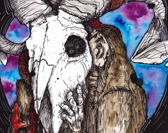 """Monkey Painting - Animal Skull - Inktober - Ink Drawing - """"Great Ape Escape"""" by Far Out Arts"""