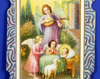Antique German Holy Card Chromolithograph Christ Child in Manger with Angels 17797