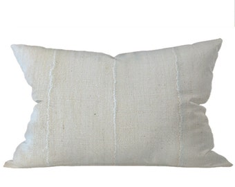 African Solid White Mudcloth Pillow | LIONEL 12x20