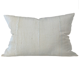 African Solid White Mudcloth Pillow | LIONEL 14x24