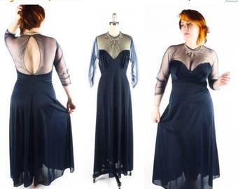 40% OFF SALE Vintage Vanity Fair Nightgown // Sheer Nightgown // Nylon Tricot Nightgown // Navy Blue Nightgown // sz M - 36
