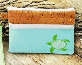 Monogrammed Sanibel Seaglass Turtle Wristlet Zipper Clutch Purse|Cell Phone Wallet|iPhone Sleeve|Mobile Accessories|blackberry|Nexus Case